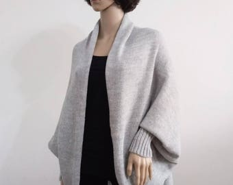 Batwing Cardigan gray Wool Jacket  Coat women  grey white Jacket  Coat cardigan Handmade  Knit loose clothes wrap Boho Cocoon coat jacket