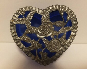 Blue Satin Glass Heart Shaped Trinket Box With Pewter Rose Lid