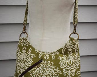 Green Damask Purse Cross Body