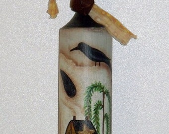 """Hand Painted - Primitive - Folk Art - 14"""" Wooden Pestle with Sheep - Willow Tree - Salt Box House - Crow - Home Decor - Kitchen Decor"""