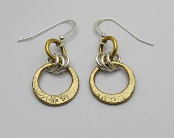 Mixed Metal Earrings, Mixed Metal Jewelry, Silver and Gold Bronze, Gold Bronze and Silver, Bronze Earrings, Dangle Earrings, Long Earrings