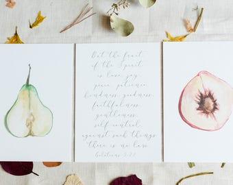 Fruit of the Spirit 3 piece set - Watercolor print