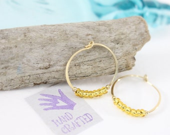 Gold filled hoop earrings Yellow glass seed bead endless round handmade