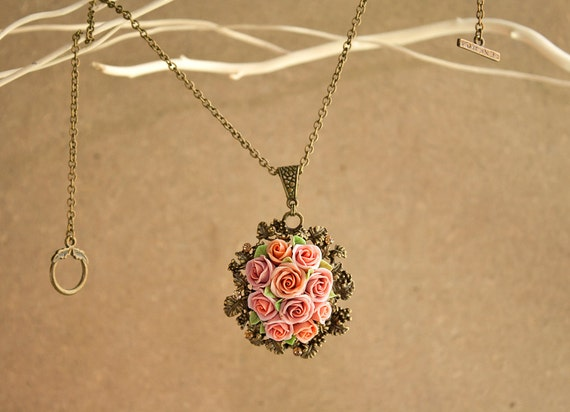 Polymer clay rose necklace dust pink rose vintage necklace audiocablefo