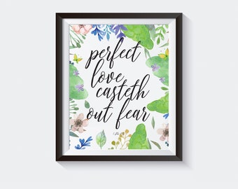 Prefect Love Casteth Out Fear, Bible Art, Verse Print, Love, Gift, Wall Art, Inspirational, Art Prints, Printable, Decor, Calligraphy Print