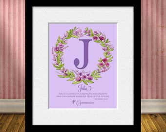 Personalized 1st Communion GIFT, Christening Gift, Dedication Gift, Large Monogram Gift, Provers 31:25, Baby Shower Gift