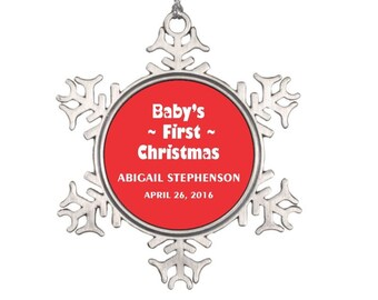 Baby's First Christmas Ornament - Personalized My First Christmas Ornament - Snowflake Christmas Ornament - Gift for Newborn, Christmas Gift