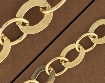 1 foot, 14kt Gold Filled Flat Oval Chain. Gold Filled Chain. Gold Chain by the Foot GF912EFX. Made in USA. Alternating Flat Oval Cable