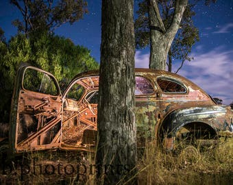 old car photography, antique cars, antique car photography, car print, vintage cars, car photography, farm, country decor, rustic, night sky