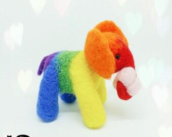 Rainbow Elephant with heart, Rainbow baby gift, Needle Felt little elephant, LGBT gift