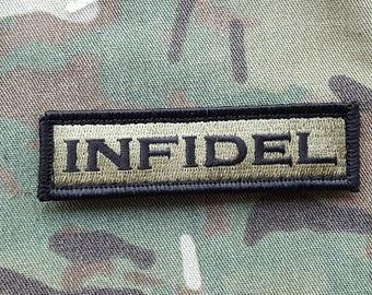 "INFIDEL OD Green And Black Morale Patch 1""x3.5 multicam Navy Seals Devgru"