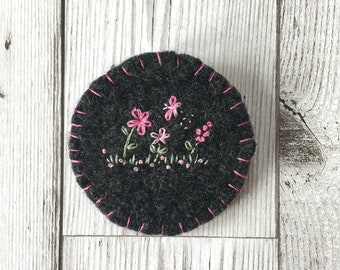 Upcycled Hand Embroidered Felted Brooch, Pink Floral Embroidered Brooch, Felted Embroidered Pin with butterfly