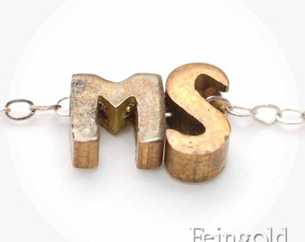 Custom TWO Initials - Tiny Vintage Brass Pendant on Sterling Silver Chain - Free US Shipping