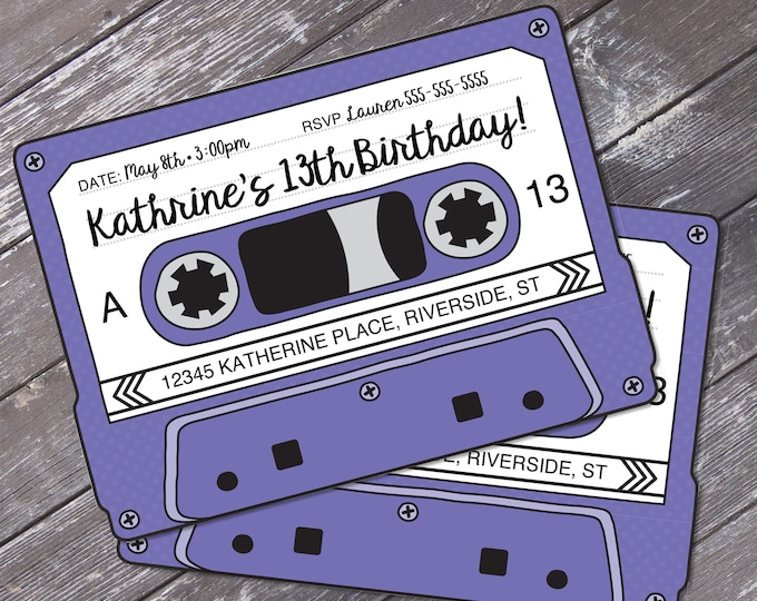 Cassette Tape Invitations - Retro Party, 80s Party Invitation,Mixtape Invite,Purple | Editable Text - Instant Download DIY Printable PDF Kit