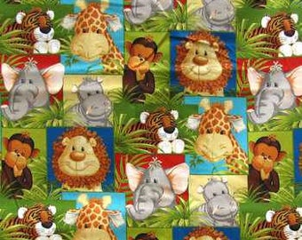Jungle Babies Allover Animal Fabric - 100% Cotton Quilting Apparel Crafts Baby Home decor