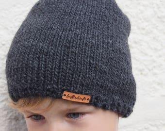 Hand Knitted Hat, Boy hat, Girl Hat, Kids hat, Kids Beanie Hat, Slouchy beanie, Dark grey hat, Grey Beanie hat, Ready to ship