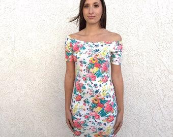 Vintage 1980's 1990's YES floral off shoulder bandage dress