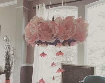 Floral nursery chandelier