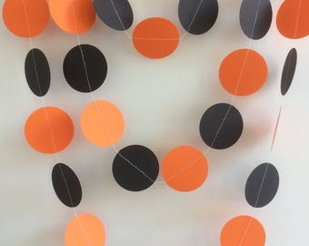 Black and Orange Circle Garland , Decor, Halloween, Partied, Celebrations