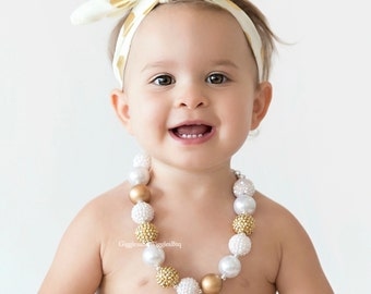 Baby necklace, baby jewelry, white and gold, baby girl necklace, chunky necklace, girl necklace, infant girl necklace, children necklace