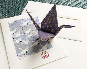 Origami Crane Card (purple, gold dot)