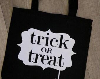 Trick or Treat  spider Halloween Bag, Halloween Tote,  halloween bag,spider halloween tote, custom halloween , glow in the dark bag,