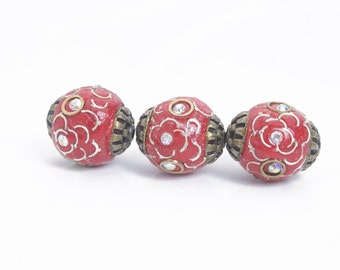 handmade Indonesian beads - Kashmiri beads - Indonesia polymer clay beads - fimo polymer clay beads - red clay beads - 14mm beads - 8pcs