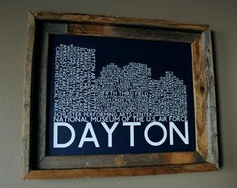 Dayton Skyline Word Art Print (Dark Blue) - Unframed