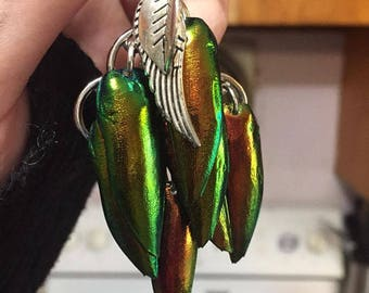 Orange Jewel Beetle Wing Waterfall Earrings