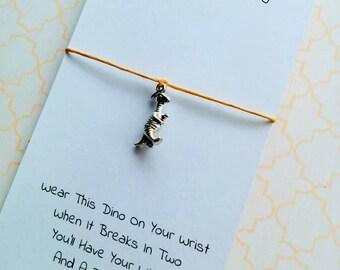 Dino Charm Bracelet, Dinosaur Wish Bracelet