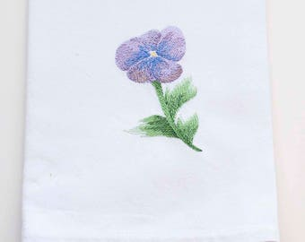 Watercolor Pansy Tea Towel | Personalized Kitchen | Embroidered Kitchen Towel | Embroidered Towel | Flower Towel | Personalized Gift