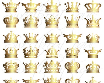 GOLD Crowns Clip Art  Silhouette Digital Crown Clipart Decorative Scrapbook Embellishment Design Elements Buy 3 get 1 free clipart 0278