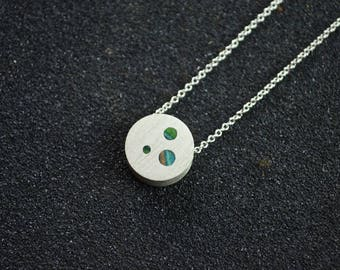 Small Simple Round Silver and Recycled Skateboard Pieces Inlay Turquoise, Green, Beige Brushed on Chain 16 inches Women Girl Modern Trendy