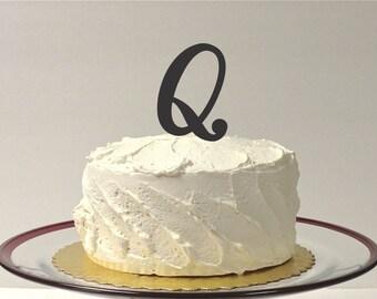MONOGRAM INITIAL Q- Wedding Cake Topper  Personalized Monogrammed Wedding Cake Topper Custom Cake Topper Any Letter