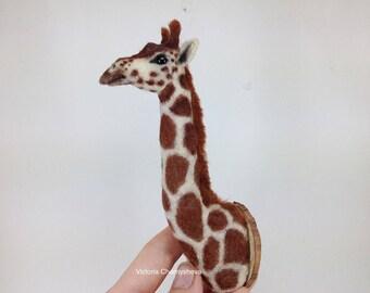 Dollhouse miniature 1:12 stuffed giraffe head, miniature animals , TO ORDER!!!!!!!!!!!!!!