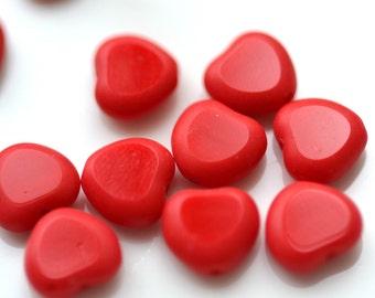 Bright Red Czech Glass 8mm Heart Beads    20