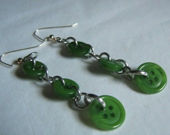 Pea Green with Envy Button Dangle Earrings