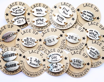 LACE UP Customizable sturdy but Lightweight Aluminum Shoe Tags for Runner, Trainer, Coach, Athlete, Personalized
