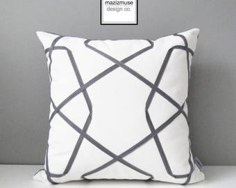 Grey & White Outdoor Pillow Cover, Geometric Sunbrella Pillow Cover, Decorative Pillow Cover, Gray White Lattice, Cushion Cover, Mazizmuse