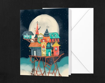 A2 house greeting card \ Blank card \ greeting card