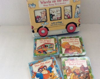 Gift for Kids - Leap Frog - The Wheels on the Bus - This Old Man - 4 Board books - Children's Classics - toddler books- Kid's Room Decor