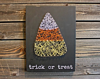 Trick or Treat String Art, Trick or Treat Sign, Halloween Sign, Halloween Decor, Trick or Treat Banner, Fall Sign, Fall Decor
