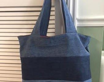 Denim and Burgundy Tote Bag