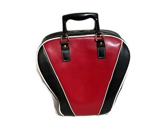 Bowling Ball Bag Red Black Leeds Vinyl Vegan Leather 1970's