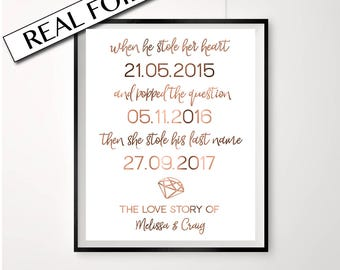 Love story // Copper // Copper prints // Engagement print // Wedding signs // Custom dates // Custom names // Diamond // weddings // prints