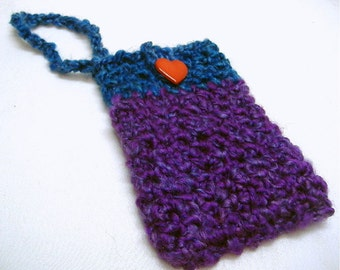 Womans Cell Phone Tote Crochet Cellphone Sleeve Camera Carry Case Chunky Blue Wrist Strap iphone Samsung Blackberry Small Electronics Heart