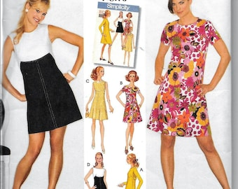 Simplicity 3833 Vintage 1960s Retro Sheath A-Line Mini DRESS Rockabilly Sewing Pattern Size 6, 8, 10, 12, 14