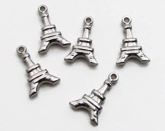 Eiffel Tower Charm, Stainless Steel Paris Pendant - Set of 5 SST Findings 11x17x3mm, Paris Eiffel Tower Charm, Double Sided Charm
