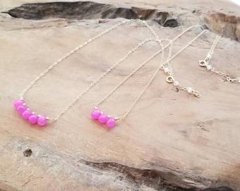 Magenta Jade Neckclace, Pink Jade Neckclace, Pink Neckclace, Dainty Bead Neckclace, Jade Neckclace, Mom and Daughter Neckclace, Pink Jewelry