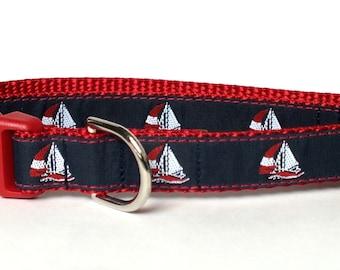 SALE Sailboats Dog Collar